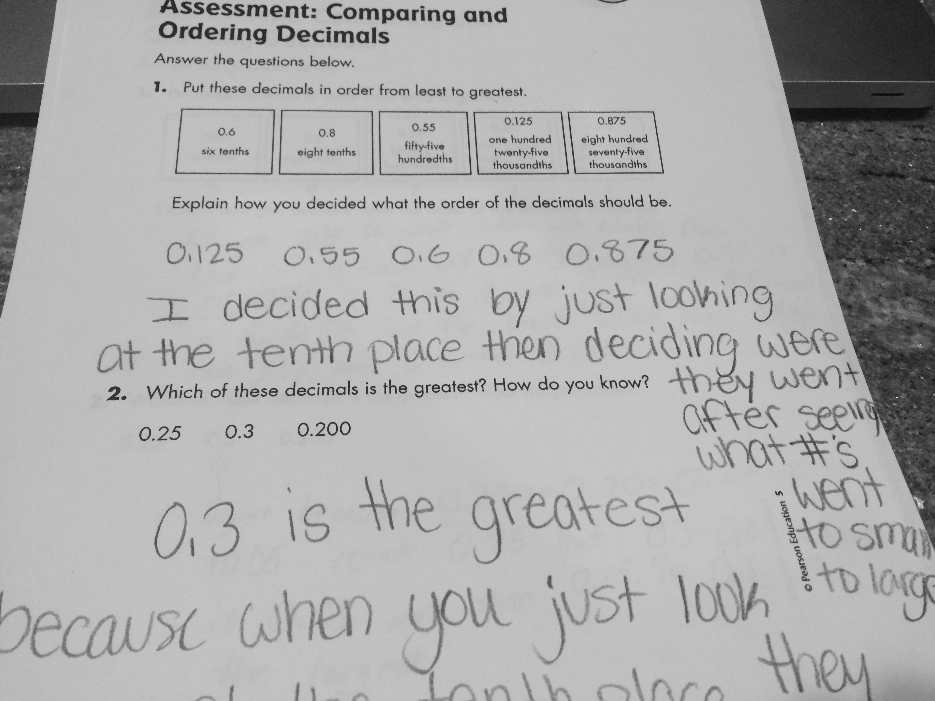 Ordering decimals worksheet grade 7
