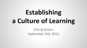 Establishing a Culture of Learning
